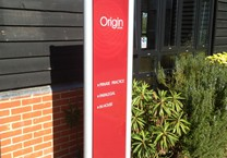 Aluminium Sign Tray with Printed Vinyl Graphics  Mounted Between Aluminium Posts