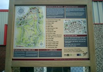 Printed Map & Information Aluminum Panel in Green Oak Frame