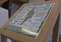 Printed Map & Information Aluminum Sign Tray in Green Oak Lectern Style Frame