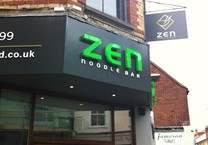 Built Up Acrylic Logo & 10mm Thick Text on Matte Grey Fascia Panel