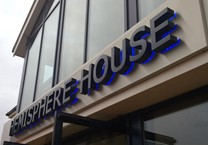 Built Up Powder Coated Aluminium Letters Housing Blue LED's to give a Halo Illumination Mounted onto an Aluminium Sign Tray