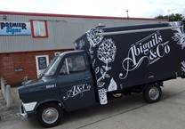 Grey Gloss Cab Wrap with Compnay Livery to Ford Transit