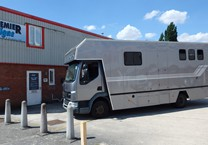 Grey Metallic Wrap with Silver Striping to Horse Box