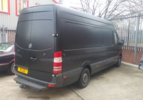 Black Satin Wrap with Patterned Detailing to Mercedes Sprinter