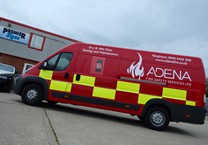 Red Gloss Wrap with Safety Vinyls & Company Livery to Peugeot Boxer